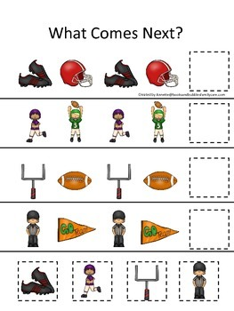 Football themed What Comes Next preschool educational game.  Daycare games.