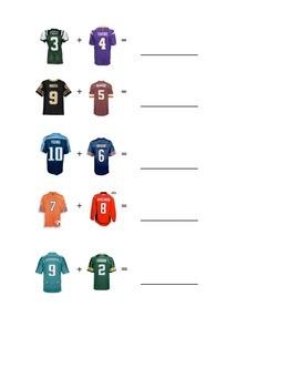 Football/Hockey addition worksheet