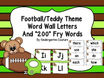 "Football/Teddy Theme Word Wall and ""200"" Fry Words"