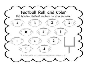 Football Roll and Color  - Simple Addition and Subtraction