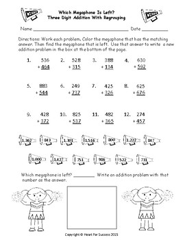 Footballs and Megaphones: Three Digit Addition With Regrouping