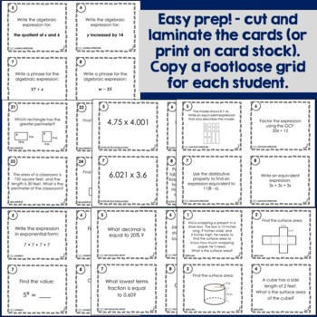 Math Task Card Bundle, 6th Grade | Footloose Math Games