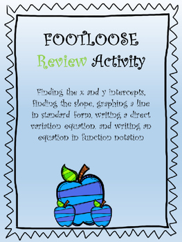 Footloose- Finding intercepts, slope, graphing a line in standard form