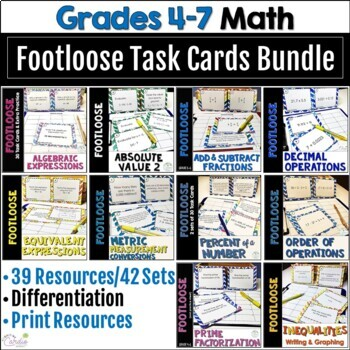 Math Task Card MEGA Bundle: 1290 Footloose Task Cards