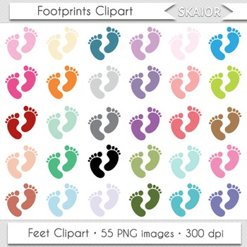Footprints Clipart Baby Feet Clip Art Rainbow Nursery Digital Scrapbooking