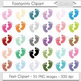 Footprints Clipart Baby Feet Clip Art Rainbow Nursery Digi