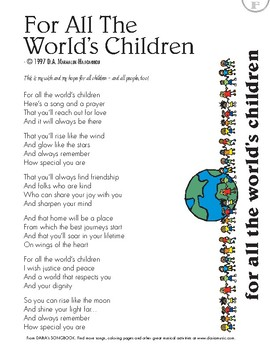 For All The World's Children (Inspirational Song) Free Lyric Sheet