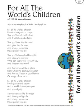 For All The World's Children - Inspirational Song and Lyric Page