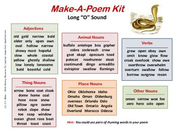 """Make-a-Poem Kit - Long """"O"""" Assonance"""