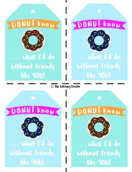 For FRIENDS . . . Donut . . . Donuts Valentine Tag . . . Valentine's Day