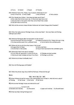 For Fahrenheit 451, Ray Bradbury: Reading Comprehension Quizzes
