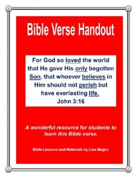 """John 3:16 Handout - """"For God so loved the world..."""" John 3:16. (NKJV)"""