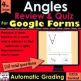 For Google Forms Angles Grade 4 Review & Quiz; self-grades