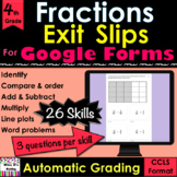 For Google Forms Fractions Exit Slips Grade 3, 4 digital,