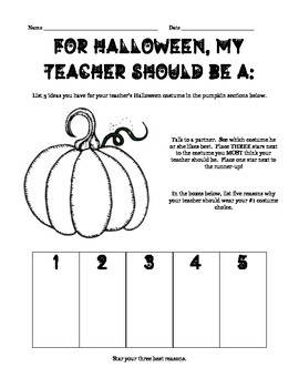 For Halloween Our Teacher Should Be... Brief Persuasive Writing Project