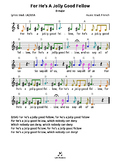 For He's A Jolly Good Fellow (D) tabs4 recorder ocarina guitar ukulele harmonica
