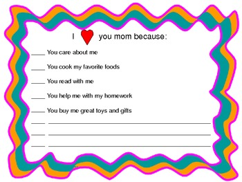 """For Mom"" Writing Activities"