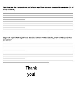 For Students - A feedback sheet on the efficacy of your teaching!