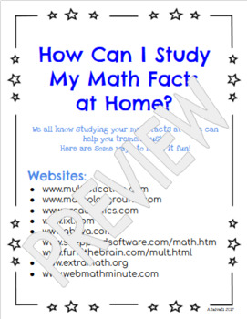 For Students: Study Your Math Facts at Home (Tips & Ideas)