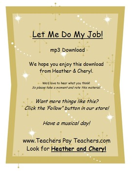 Let Me Do My Job MP3  (ForTeachersEarsOnly-SongsForTeachersByTeachers)