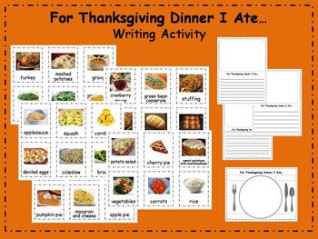 For Thanksgiving Dinner I Ate Writing Activity