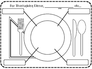 For Thanksgiving Dinner, I ate...After Thanksgiving Activity-Writing