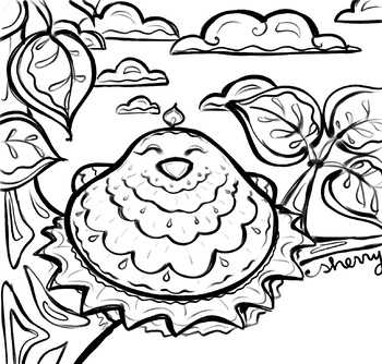 For The Birds coloring page, clip art, reading, writing