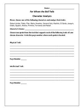 For Whom the Bell Tolls Character Analysis Activity - Ernest Hemingway
