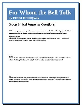 For Whom the Bell Tolls - Hemingway - Group Critical Response Questions