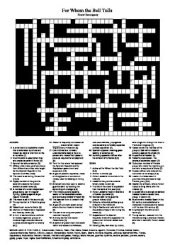 For Whom the Bell Tolls by Ernest Hemingway Crossword Puzzle