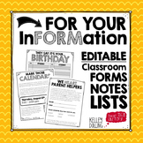 Back to School Forms  (EDITABLE)