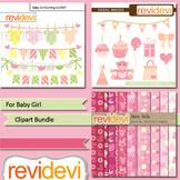 For baby girl clip art bundle / birthday, nursery decor clipart
