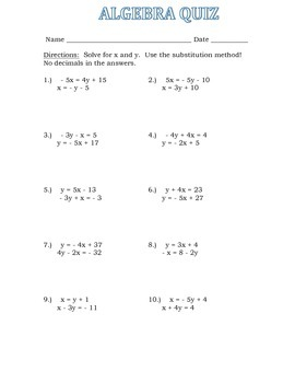 Solve for X and Y QUIZ