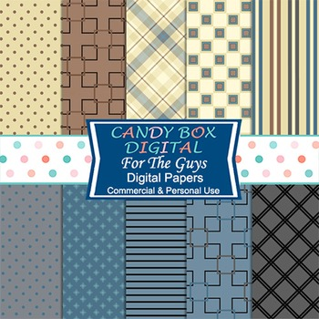 Brown and Blue For Dad and the Guys, Masculine Digital Background Papers