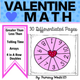 Valentine's Day Math 1st 2nd Grade  Common Core Aligned