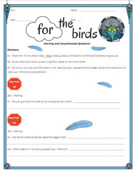 For the birds - Reading Strategy Reinforcement