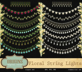 Foral String Lights Clipart