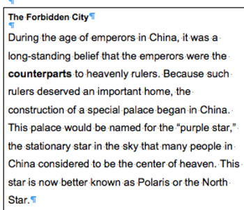 Forbidden City Guided Reading Passage
