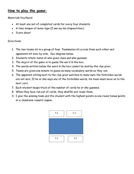 Forbidden Words Vocabulary Game and Card Templates