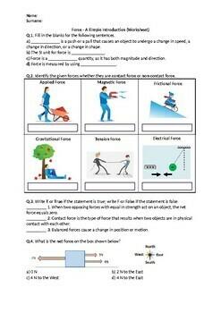 Force - Worksheet - Science