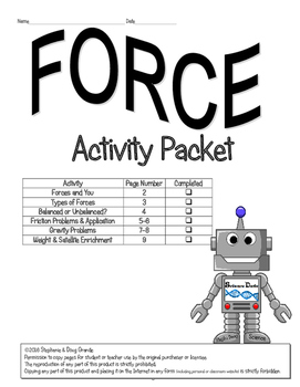 Force Activity Packet (HONORS) ~ 5th, 6th, 7th, 8th, Homeschool