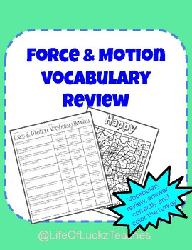 Force And Motion Vocabulary Review
