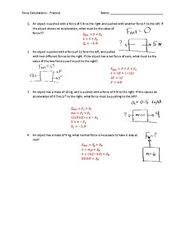 Force Calculations Worksheet - Answer Key