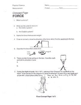 Force Concept Worksheet (weight push pull)
