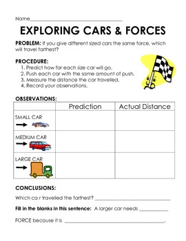 Force Experiments- 3 activites to investigate pushes, ramps & motion using cars