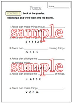 Force Worksheet for G. 1-3