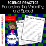 Force, Inertia, Velocity, and Speed - Science Worksheet