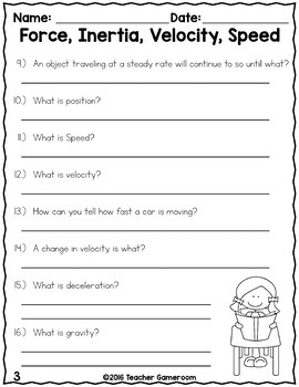 worksheet: Inertia Worksheets Middle School Physical Science ...