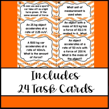 Force, Mass, & Acceleration Task Cards: An Interactive Review