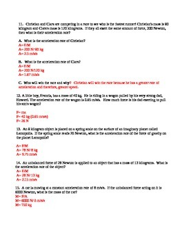Force, Mass, and Acceleration Word Problems